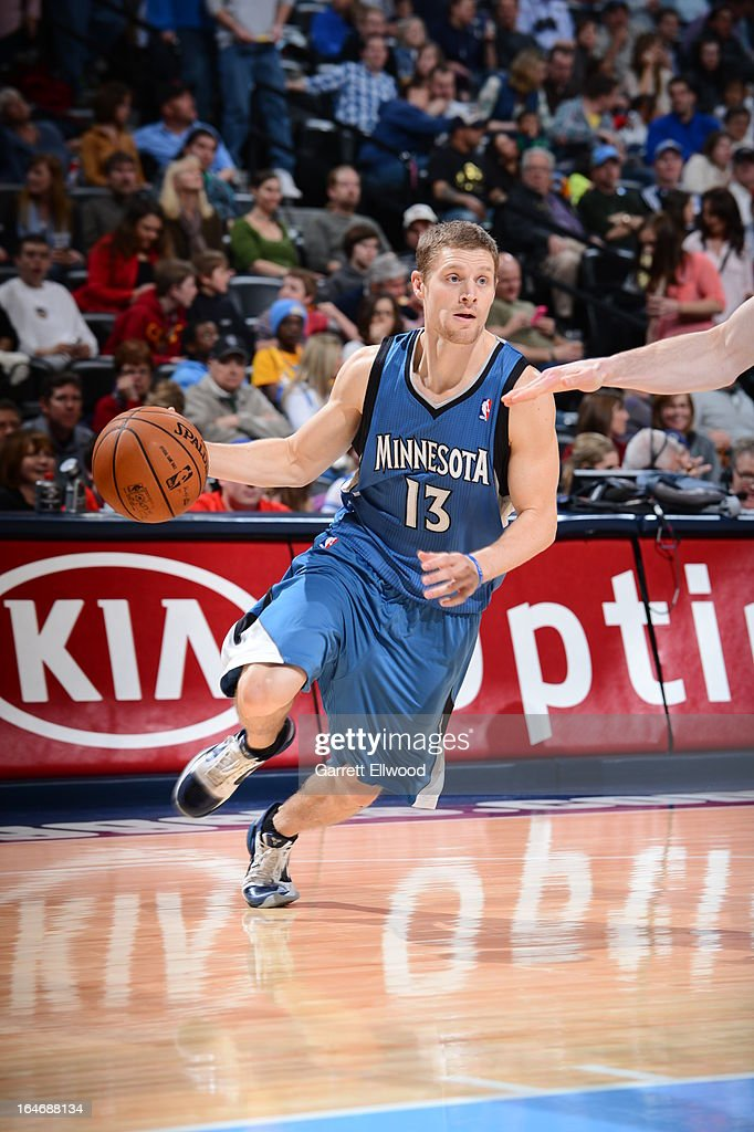 <a gi-track='captionPersonalityLinkClicked' href=/galleries/search?phrase=Luke+Ridnour&family=editorial&specificpeople=201824 ng-click='$event.stopPropagation()'>Luke Ridnour</a> #13 of the Minnesota Timberwolves drives to the basket against the Denver Nuggets on March 9, 2013 at the Pepsi Center in Denver, Colorado.