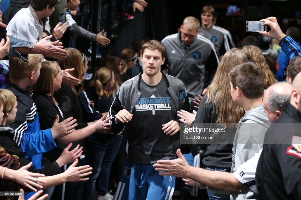 Luke Ridnour #13 of the Minnesota Timberwolves enters the court before the game against the Golden State Warriors on February 24, 2013 at Target Center in Minneapolis, Minnesota.