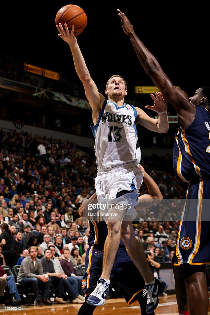 Luke Ridnour #13 of the Minnesota Timberwolves goes to the basket against the Indiana Pacers on November 9, 2012 at Target Center in Minneapolis, Minnesota.
