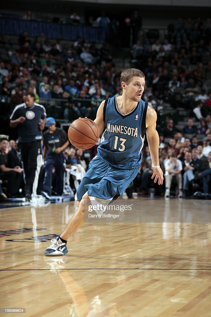 <a gi-track='captionPersonalityLinkClicked' href=/galleries/search?phrase=Luke+Ridnour&family=editorial&specificpeople=201824 ng-click='$event.stopPropagation()'>Luke Ridnour</a> #13 of the Minnesota Timberwolves handles the ball against the Dallas Mavericks on November 12, 2012 at the American Airlines Center in Dallas, Texas.
