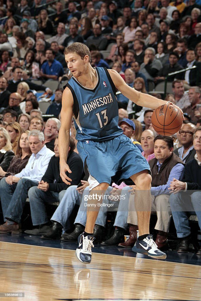<a gi-track='captionPersonalityLinkClicked' href=/galleries/search?phrase=Luke+Ridnour&family=editorial&specificpeople=201824 ng-click='$event.stopPropagation()'>Luke Ridnour</a> #13 of the Minnesota Timberwolves looks to make a move against the Dallas Mavericks on November 12, 2012 at the American Airlines Center in Dallas, Texas.