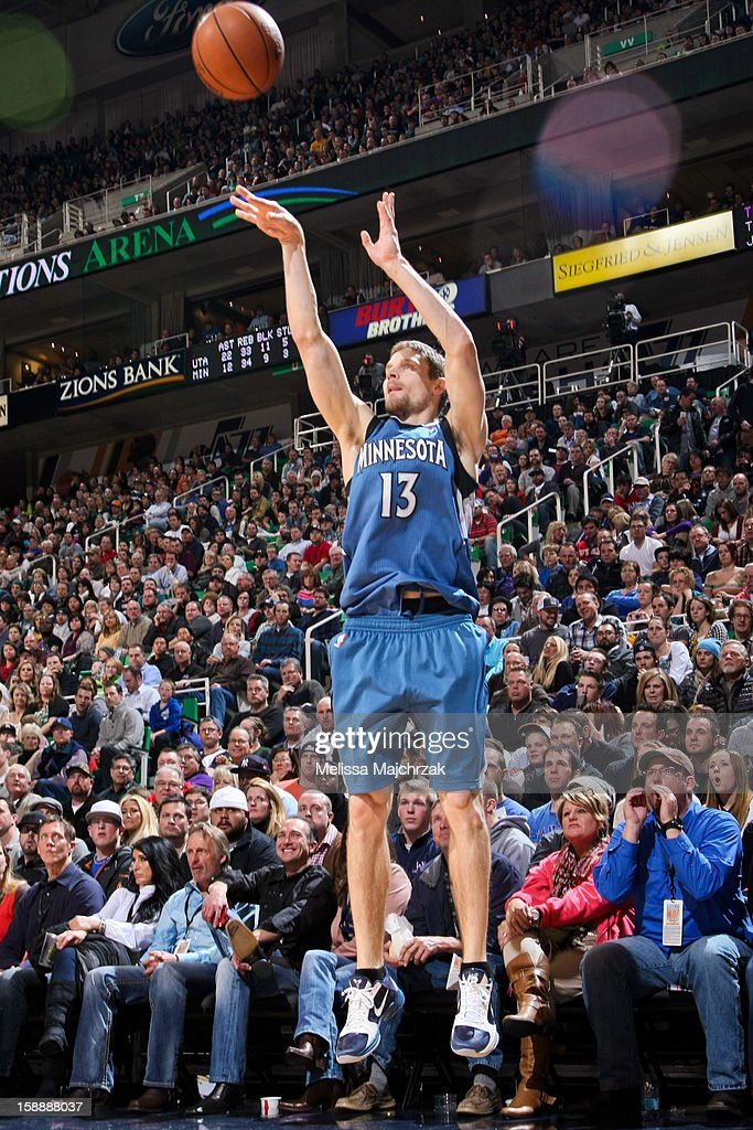 <a gi-track='captionPersonalityLinkClicked' href=/galleries/search?phrase=Luke+Ridnour&family=editorial&specificpeople=201824 ng-click='$event.stopPropagation()'>Luke Ridnour</a> #13 of the Minnesota Timberwolves shoots a three-pointer against the Utah Jazz at Energy Solutions Arena on January 2, 2013 in Salt Lake City, Utah.