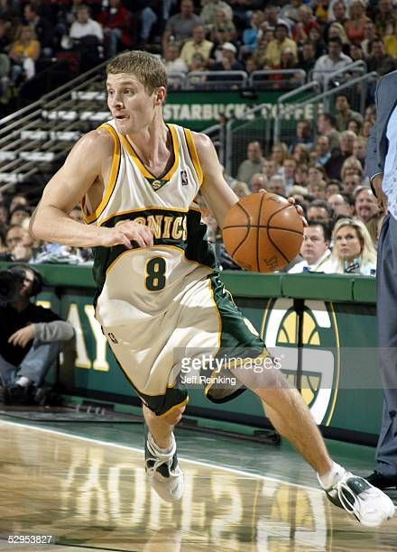 Luke Ridnour of the Seattle SuperSonics dribbles upcourt against the San Antonio Spurs in Game six of the Western Conference Semifinals during the...