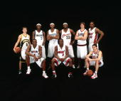 Luke Ridnour#8 Josh Howard Carmelo Anthony LeBron James Kyle Korver Udonis Haslem Chris Bosh Dwyane Wade and Kirk Hinrich of the Sophomore Team pose...