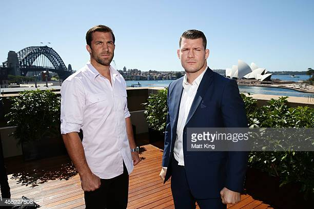 Luke Rockhold and Michael Bisping pose during the UFC Fight Night Rockhold v Bisping Press Event at Museum of Contemporary Art on September 11 2014...