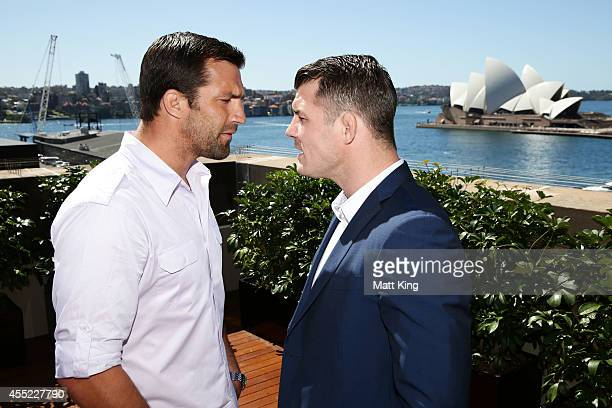 Luke Rockhold and Michael Bisping sqaure off during the UFC Fight Night Rockhold v Bisping Press Event at Museum of Contemporary Art on September 11...