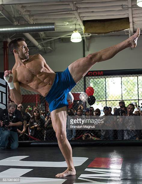 Luke Rockhold holds an open training session for fans and media at the UFC Gym on June 1 2016 in Torrance California
