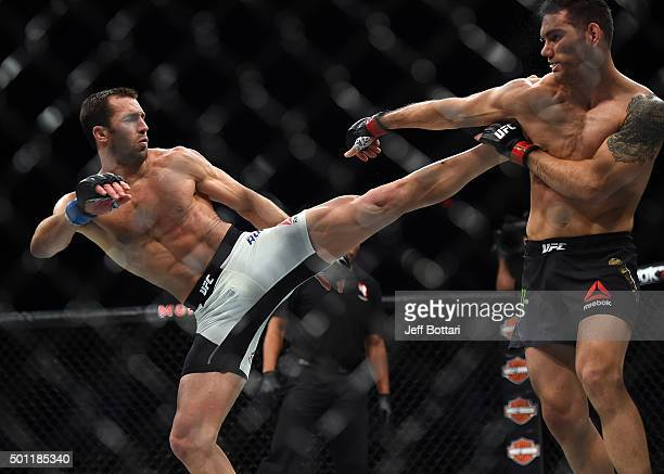 Luke Rockhold kicks Chris Weidman in their middleweight championship bout during the UFC 194 event inside MGM Grand Garden Arena on December 12 2015...