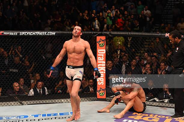 Luke Rockhold reacts to his victory over Chris Weidman in their UFC middleweight championship bout during the UFC 194 event inside MGM Grand Garden...
