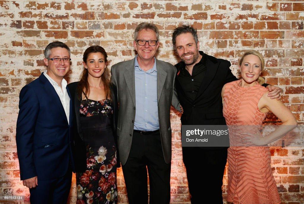 Luke Rogers, Brooke Satchwell, Jonathan Biggins, Luke Joslin and Elise McCann pose during the Helpmann Awards 2017 Nomination Announcement at Roslyn Packer Theatre on June 19, 2017 in Sydney, Australia.