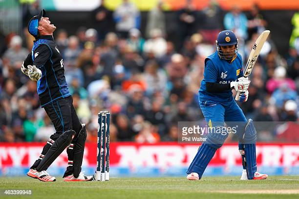 Luke Ronchi of New Zealand celebrates his catch of Mahela Jayawardene of Sri Lanka during the 2015 ICC Cricket World Cup match between Sri Lanka and...