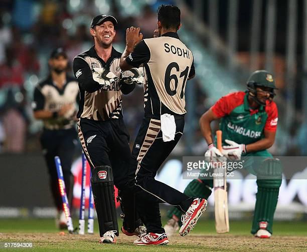 Luke Ronchi of New Zealand congratulates Ish Sodhi of New Zealand after he bowled Mahmudullah of Bangladesh during the ICC World Twenty20 India 2016...