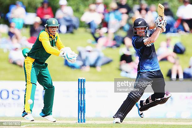 Luke Ronchi of New Zealand plays the ball away for four runs during the One Day International match between New Zealand and South Africa at Bay Oval...
