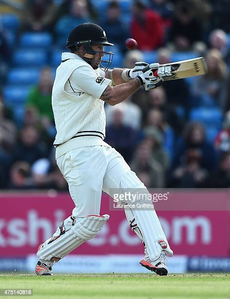 Luke Ronchi of New Zealand smashes the ball to the boundary during day one of the 2nd Investec Test Match between England and New Zealand at...