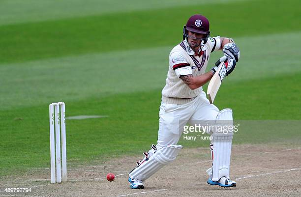 Luke Ronchi of Somerset cuts during the LV County Championship match between Somerset and Warwickshire at the County Ground on September 24 2015 in...
