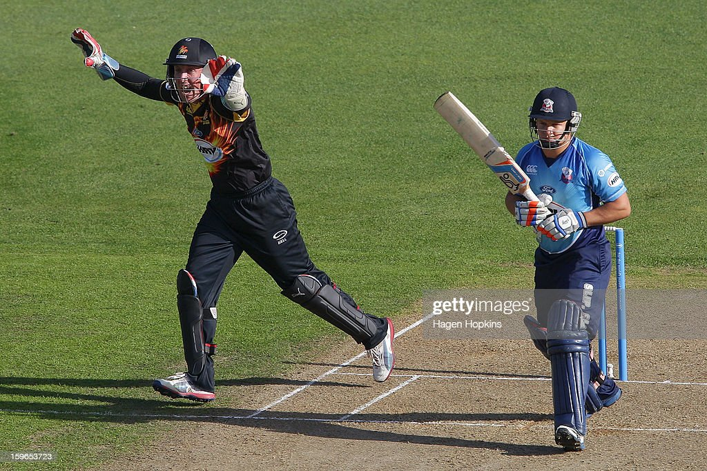 Luke Ronchi of Wellington appeals for the wicket of Craig Cachopa of Auckland during the HRV Cup Twenty20 Preliminary Final between the Wellington Firebirds and the Auckland Aces at Basin Reserve on January 18, 2013 in Wellington, New Zealand.