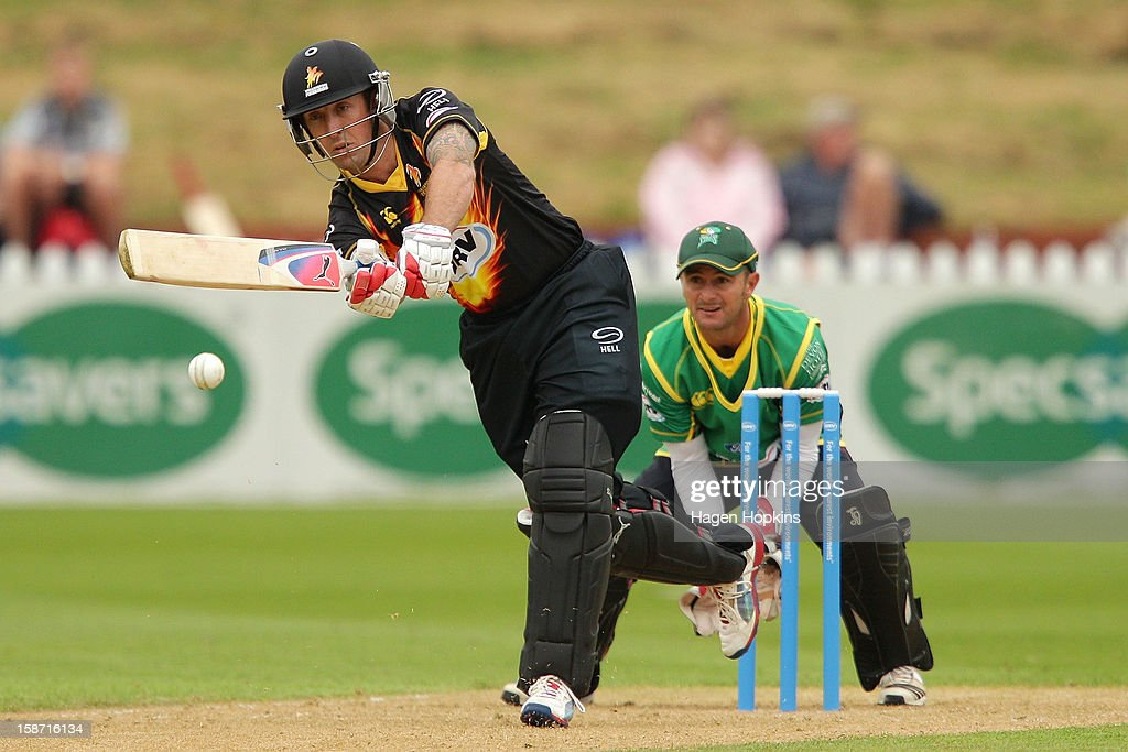 Luke Ronchi of Wellington bats during the Twenty20 match between Wellington Firebirds and Central Stags at Hawkins Basin Reserve on December 26, 2012 in Wellington, New Zealand.