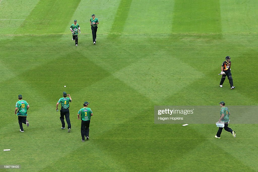 <a gi-track='captionPersonalityLinkClicked' href=/galleries/search?phrase=Luke+Ronchi&family=editorial&specificpeople=724790 ng-click='$event.stopPropagation()'>Luke Ronchi</a> of Wellington leaves the field after being dismissed during the Twenty20 match between Wellington Firebirds and Central Stags at Hawkins Basin Reserve on December 26, 2012 in Wellington, New Zealand.