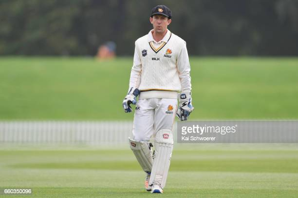Luke Ronchi of Wellington looks on during the Plunket Shield match between Canterbury and Wellington on March 30 2017 in Christchurch New Zealand