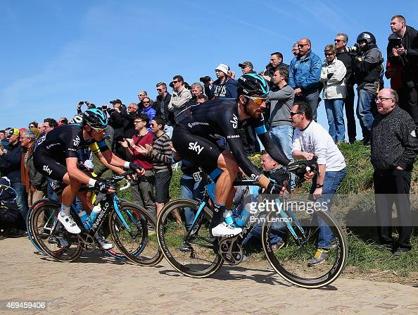 Luke Rowe and Sir Bradley Wiggins of Great Britain and Team SKY in action during the 113th edition of the ParisRoubaix cycle race from Paris to...
