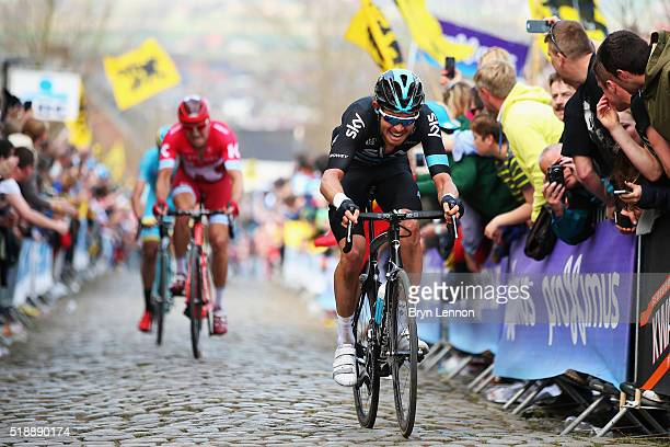 Luke Rowe of Great Britain and Team SKY rides up the Kwaremmont during the 100th edition of the Tour of Flanders from Bruges to Oudenaarde on April 3...