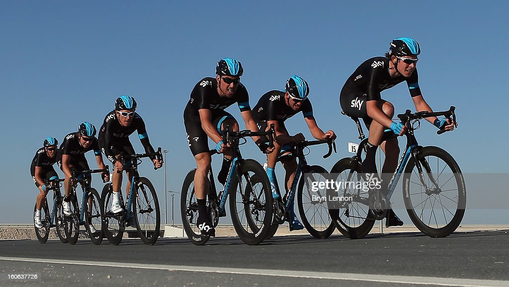 Luke Rowe of Great Britain leads his SKY Procycling team during stage two of the 2013 Tour of Qatar, a 14km Team Time Trial, along Al Rufaa Street on February 4, 2013 in Doha, Qatar.