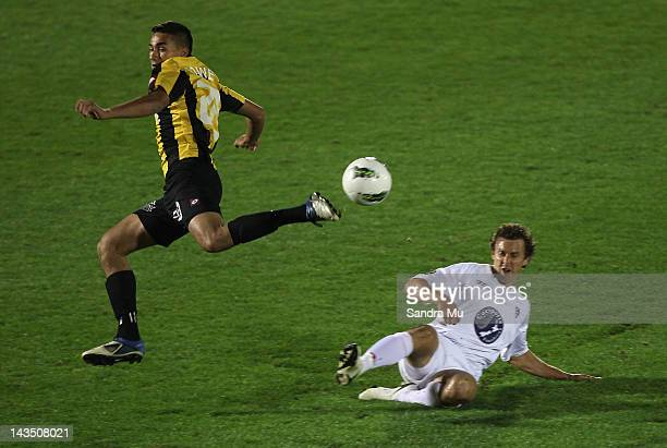 Luke Rowe of Wellington and Aaron Scott of Waitakere in action during the 2012 ASB Premiership Grand Final match between Waitakere United and Team...