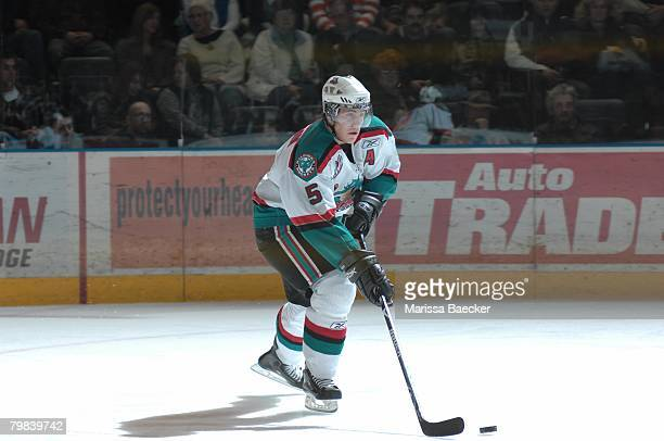 Luke Schenn of the Kelowna Rockets skates against the Chilliwack Bruins on February 9 at Prospera Place in Kelowna Canada