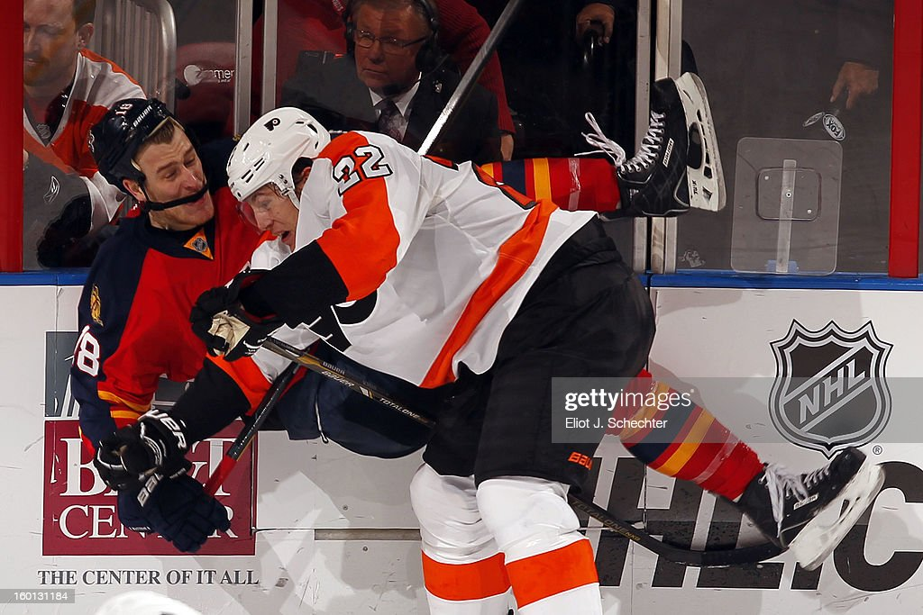 <a gi-track='captionPersonalityLinkClicked' href=/galleries/search?phrase=Luke+Schenn&family=editorial&specificpeople=4254202 ng-click='$event.stopPropagation()'>Luke Schenn</a> #22 of the Philadelphia Flyers checks Shawn Matthias #18 of the Florida Panthers at the BB&T Center on January 26, 2013 in Sunrise, Florida.