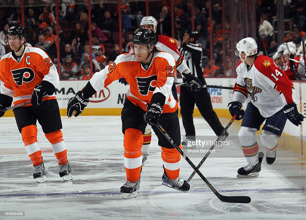 Luke Schenn #22 of the Philadelphia Flyers skates against the Florida Panthers at the Wells Fargo Center on February 21, 2013 in Philadelphia, Pennsylvania.