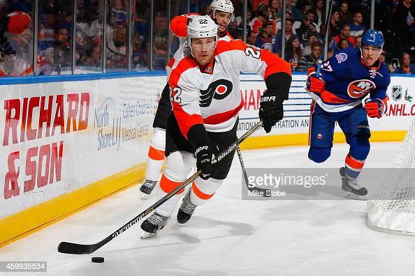Luke Schenn of the Philadelphia Flyers skates against the New York Islanders at Nassau Veterans Memorial Coliseum on November 24 2014 in Uniondale...