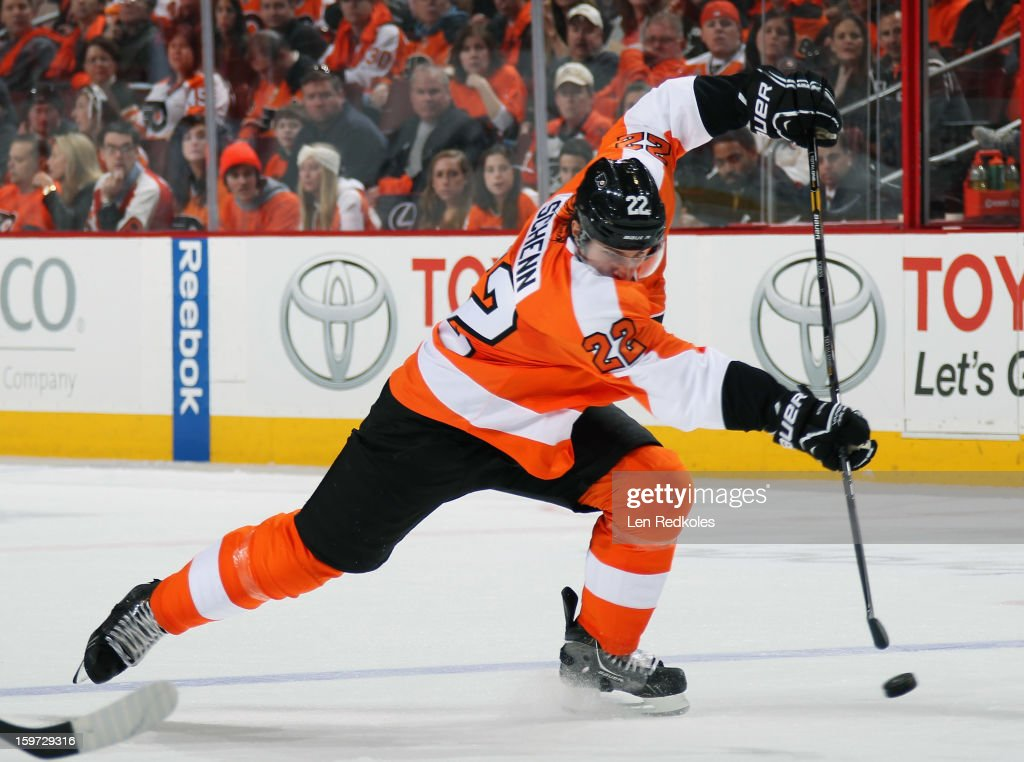 Luke Schenn #22 of the Philadelphia Flyers takes a shot from the blue line against the Pittsburgh Penguins on January 19, 2013 at the Wells Fargo Center in Philadelphia, Pennsylvania.
