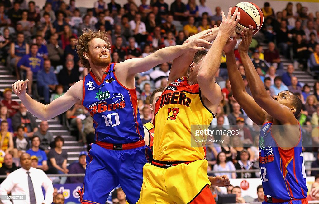 Luke Schenscher of the 36ers and Scott Morrison of the Tigers compete for a rebound during the round three NBL match between the Melbourne Tigers and the Adelaide 36ers at the State Netball Hockey Centre in October 27, 2013 in Melbourne, Australia.