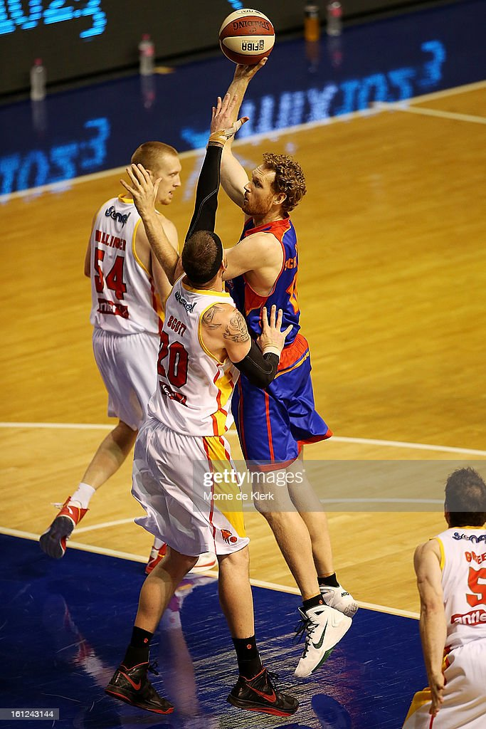 Luke Schenscher of the 36ers goes for the basket during the round 18 NBL match between the Adelaide 36ers and the Melbourne Tigers at Adelaide Arena on February 10, 2013 in Adelaide, Australia.