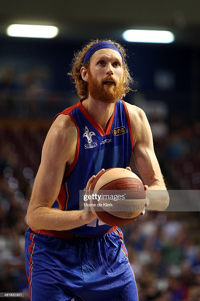 Luke Schenscher of the 36ers shoots a free throw during game three of the NBL Semi Final series between the Adelaide 36ers and the Melbourne Tigers...