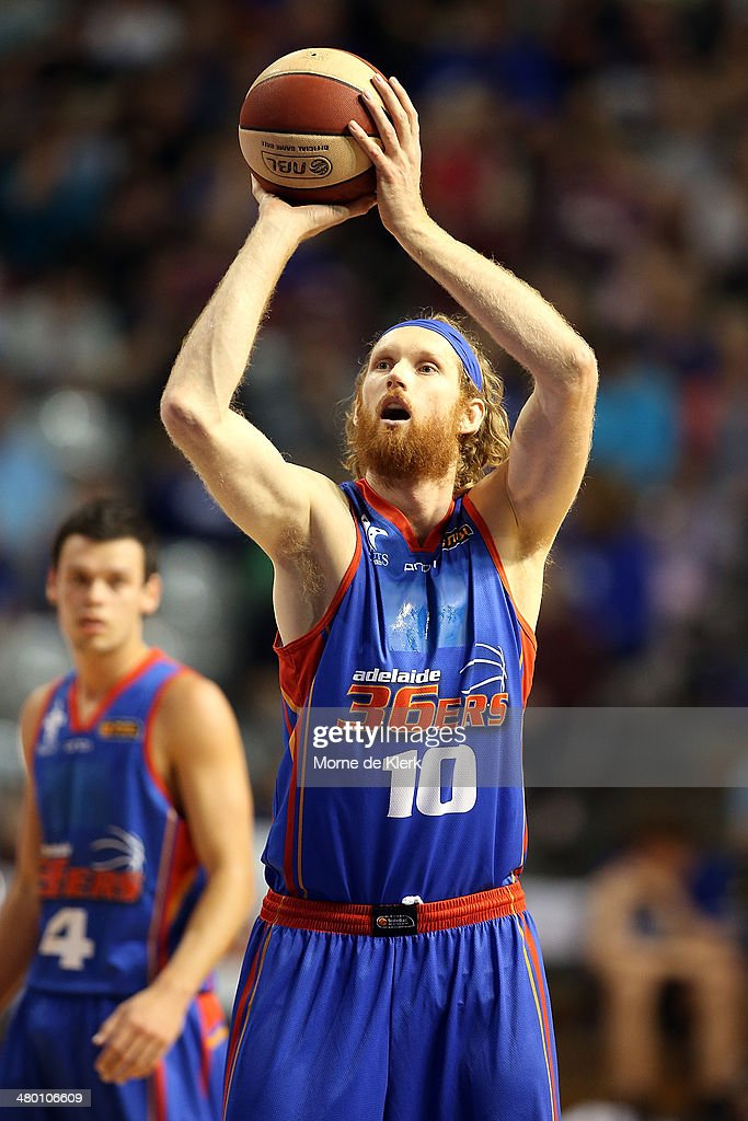 Luke Schenscher of the 36ers shoots a free throw during the round 23 NBL match between the Adelaide 36ers and the Melbourne Tigers at Adelaide Arena...
