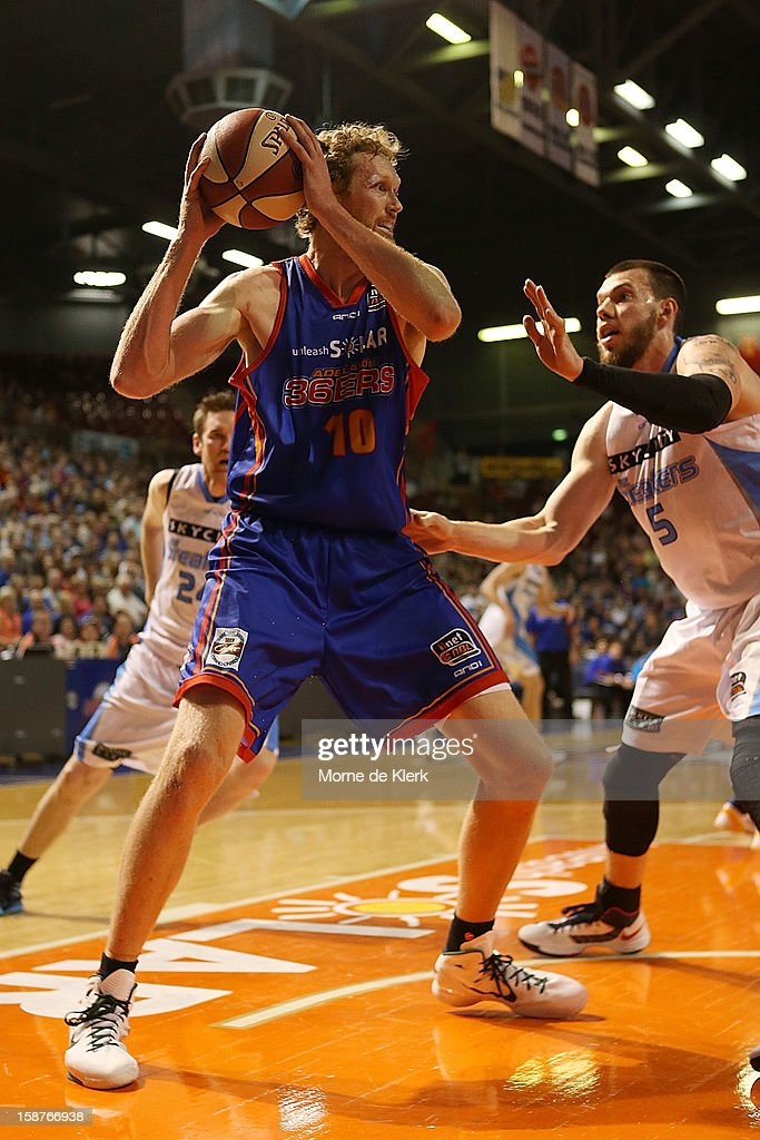 Luke Schenscher of the 36ers wins the ball during the round 12 NBL match between the Adelaide 36ers and the New Zealand Breakers at Adelaide Arena on December 28, 2012 in Adelaide, Australia.