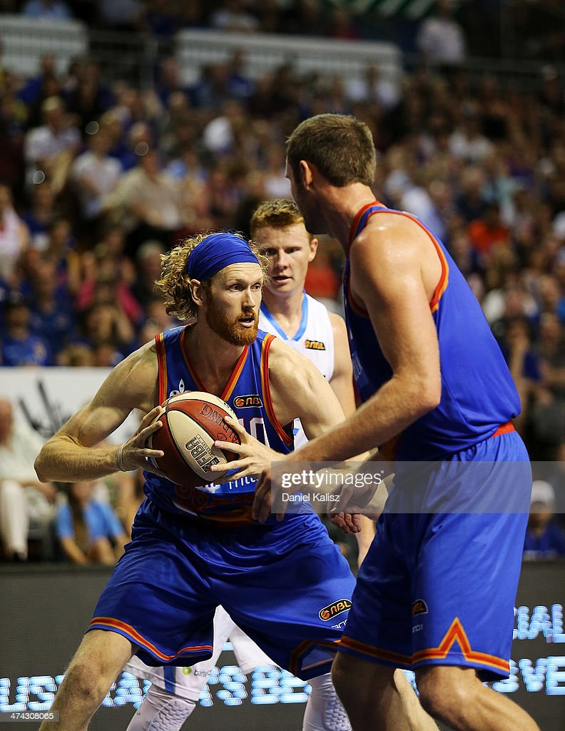 Luke Schenscher of the Sixers looks to pass during the round 19 NBL match between the Adelaide 36ers and the New Zealand Breakers at Adelaide Arena...