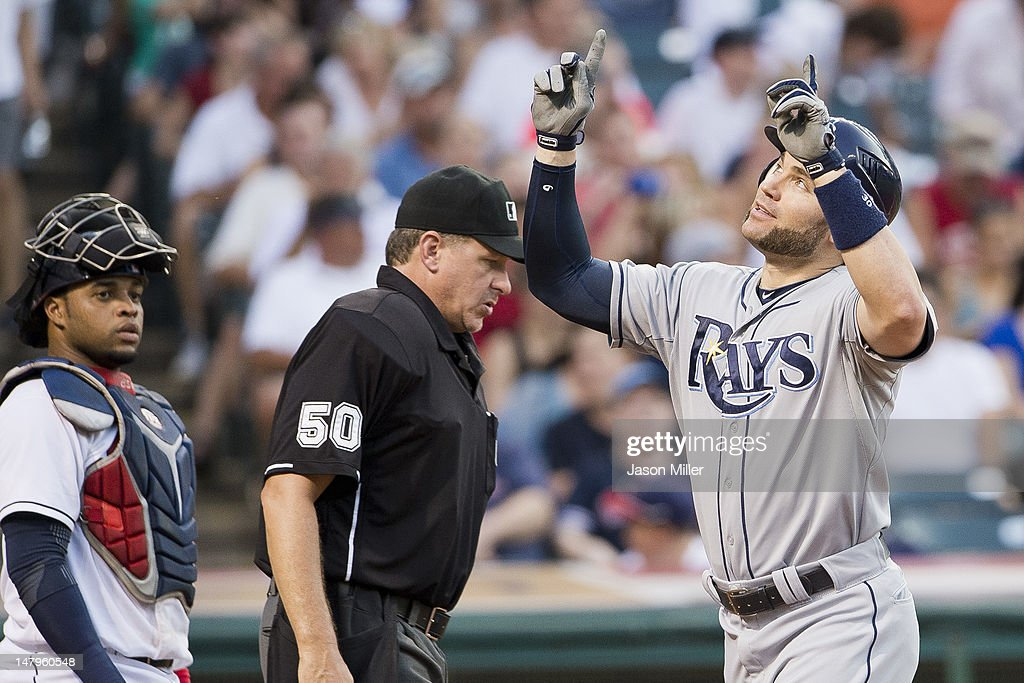 <a gi-track='captionPersonalityLinkClicked' href=/galleries/search?phrase=Luke+Scott&family=editorial&specificpeople=757156 ng-click='$event.stopPropagation()'>Luke Scott</a> #30 of the Tampa Bay Rays celebrates after hitting a two-run home run during the fifth inning against the Cleveland Indians at Progressive Field on July 6, 2012 in Cleveland, Ohio.