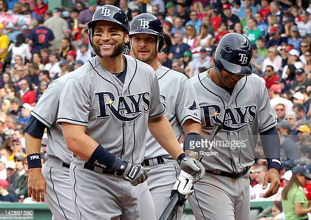 BOSTON MA APRIL 14 Luke Scott of the Tampa Bay Rays celebrates with teammates after he hit a threerun home run in the first inning against the Boston...