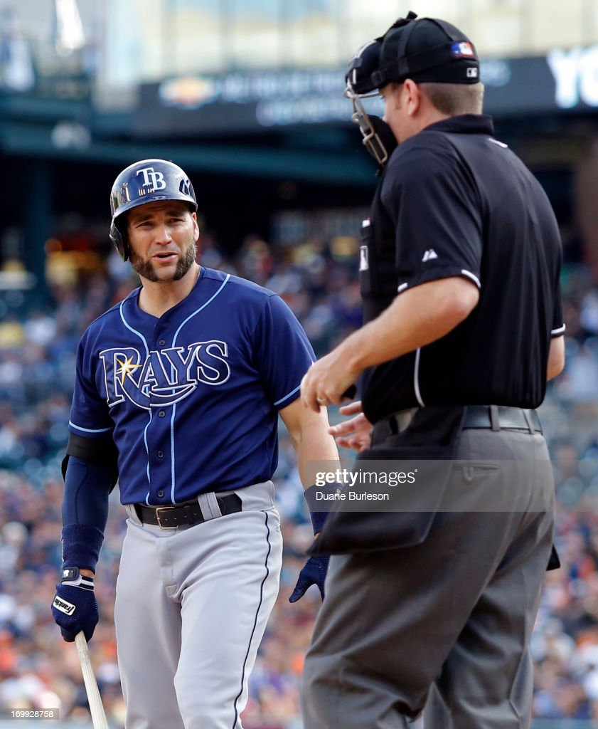 Luke Scott #30 of the Tampa Bay Rays looks at home plate umpire Chris Conroy after being called out on strikes in the second inning at Comerica Park on June 4, 2013 in Detroit, Michigan.