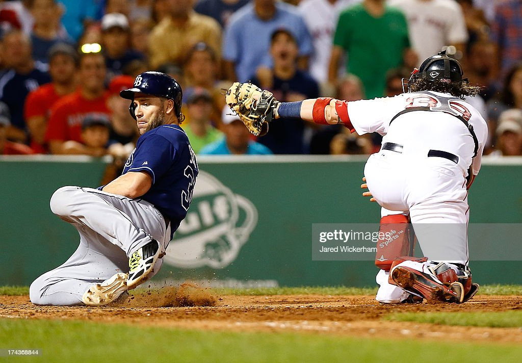 <a gi-track='captionPersonalityLinkClicked' href=/galleries/search?phrase=Luke+Scott&family=editorial&specificpeople=757156 ng-click='$event.stopPropagation()'>Luke Scott</a> #30 of the Tampa Bay Rays slides safely past <a gi-track='captionPersonalityLinkClicked' href=/galleries/search?phrase=Jarrod+Saltalamacchia&family=editorial&specificpeople=836404 ng-click='$event.stopPropagation()'>Jarrod Saltalamacchia</a> #39 of the Boston Red Sox in the 8th inning during the game on July 24, 2013 at Fenway Park in Boston, Massachusetts.