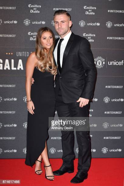 Luke Shaw and Anouska Santos attend the United for Unicef Gala Dinner at Old Trafford on November 15 2017 in Manchester England