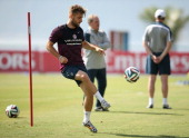 Luke Shaw in action during an England training session at the Urca Military Base on June 16 2014 in Rio de Janeiro Brazil