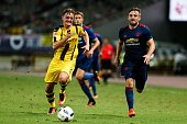 Luke Shaw of Manchester United and Jacob Bruun Larsen of Borussia Dortmund compete for the ball during the 2016 International Champions Cup China...