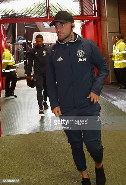 Luke Shaw of Manchester United arrives at Old Trafford ahead of the Wayne Rooney Testimonial match between Manchester United and Everton at Old...