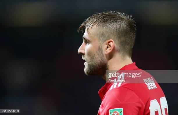 Luke Shaw of Manchester United during the Carabao Cup Third Round match between Manchester United and Burton Albion at Old Trafford on September 20...