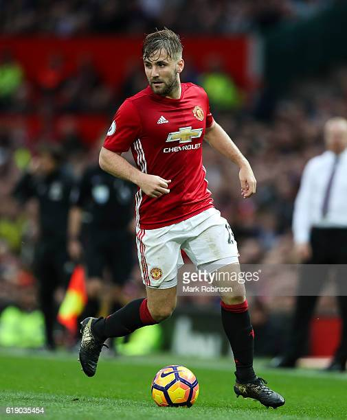 Luke Shaw of Manchester United during the Premier League match between Manchester United and Burnley at Old Trafford on October 29 2016 in Manchester...