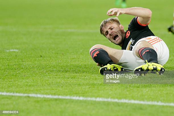Luke Shaw of Manchester United during the UEFA Champions League group B match between PSV Eindhoven and Manchester United on September 15 2015 at the...
