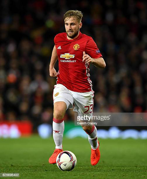 Luke Shaw of Manchester United during the UEFA Europa League match between Manchester United FC and Feyenoord at Old Trafford on November 24 2016 in...